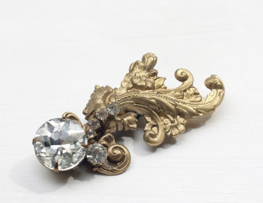 زفاف - Bridal hair clip brass crystal barrette wedding hair accessory Vintage style French Baroque glamour rhinestone antique