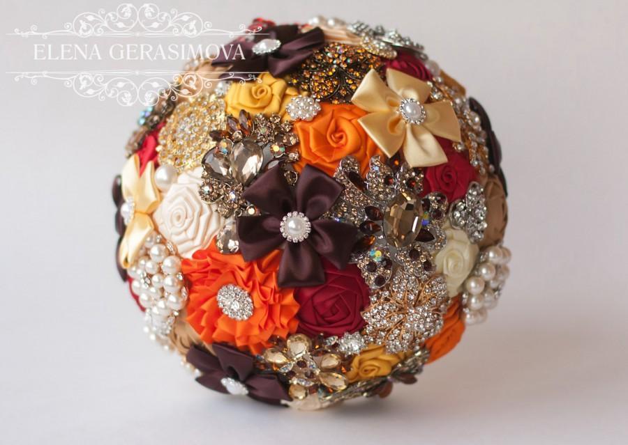 زفاف - Brooch Bouquet. Orange Autumn Fabric Bouquet, Unique Wedding Bridal Bouquet, ,Rhinestone Bouquet