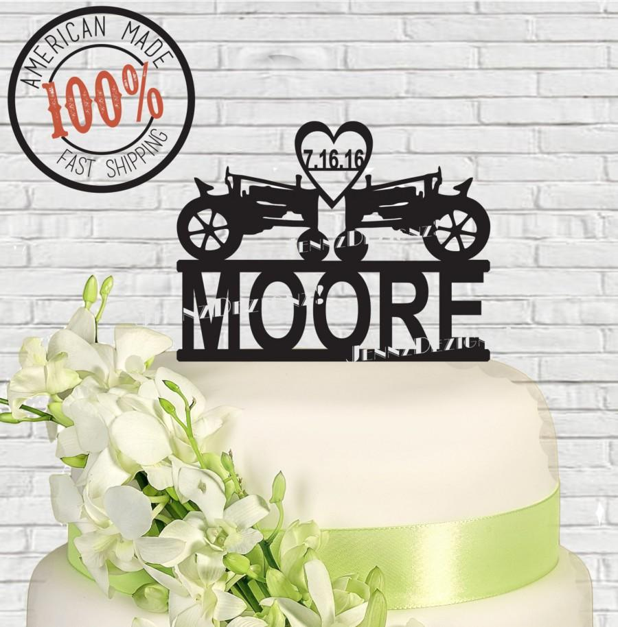 Mariage - Anniversary Farmers Tractor Heart with Date Mr & Mrs Surname Personalized Farm Acrylic Wedding Cake Topper  MADE In USA…..Ships from USA