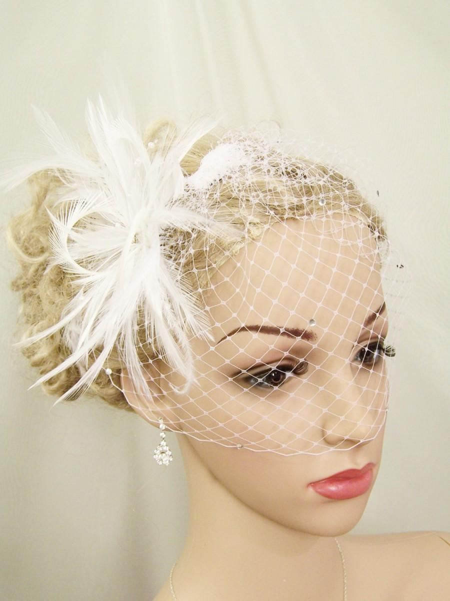 Wedding - Ostrich Feather and Crystal Wedge with DETACHABLE Rhinestone Birdcage, SET