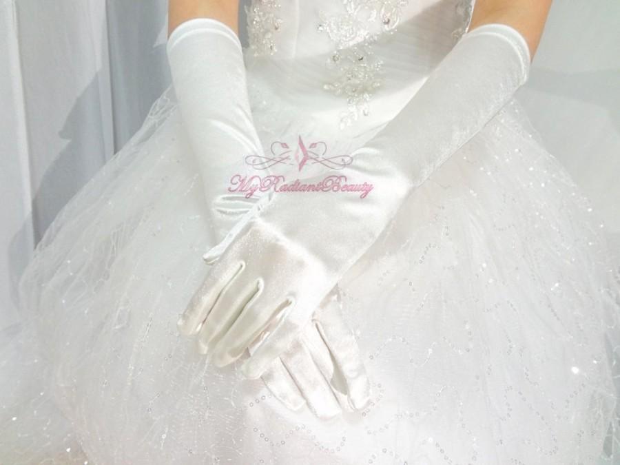 زفاف - Wedding Gloves, Bridal Gloves, Prom Gloves, Party Gloves, Ivory Satin Long Full Finger Gloves, Bridal Accessory, Satin Ivory Gloves BG0015I