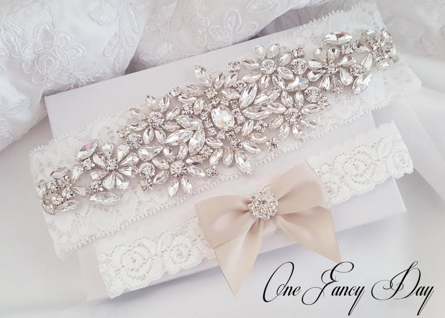 Wedding - Gold Wedding Garter, Rhinestone Garter, Lace Garte Set, Bridal Garter, Bridal Garter, Handmade Garter, Gold Garter Set