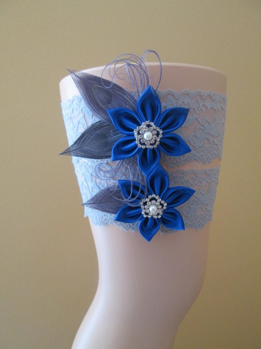 Wedding - Royal Blue & Silver Wedding Garter Set, Gray Peacock Garters, Rustic Bridal Garter, Something Blue, Gatsby- Rustic- Country Bride