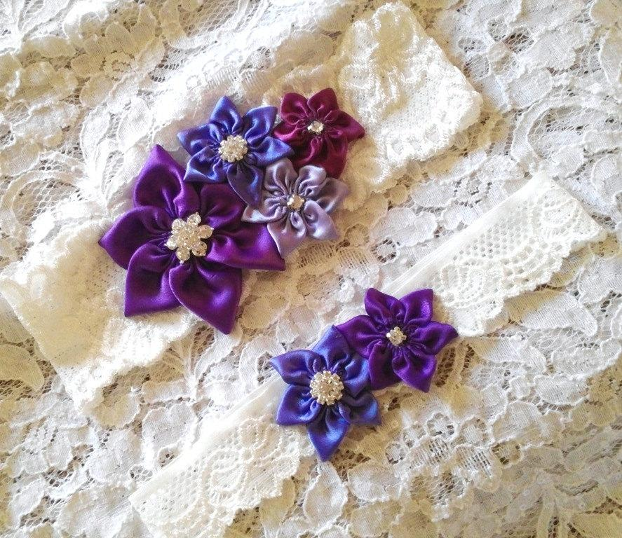 Boda - Purple Shades, Flower Wedding Garter Set, Bridal Garter Set, Diamond White Lace Garter, Purple, Lilac, Violet, Regency, Happily Ever After