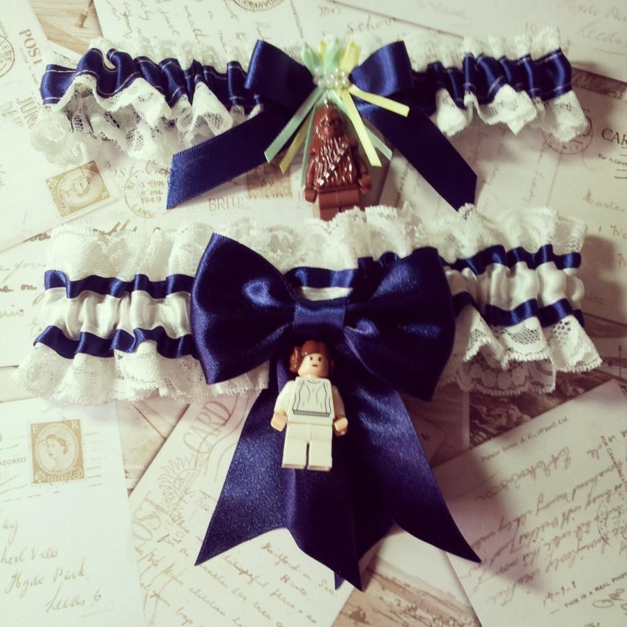 Boda - Star Wars garter, Star Wars garter set, Star Wars Wedding, Bobba Fett garter, Wedding garter, Alternative bride, Blue garter, Rebel