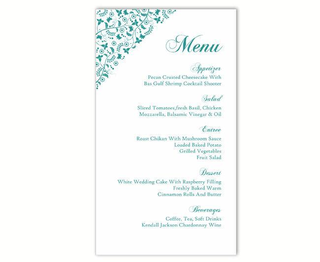 Wedding Menu Template DIY Menu Card Template Editable Text Word File  Instant Download Blue Menu Teal Menu Floral Menu Printable Menu 4x7inch    $6.90 USD  Menu Printable Template
