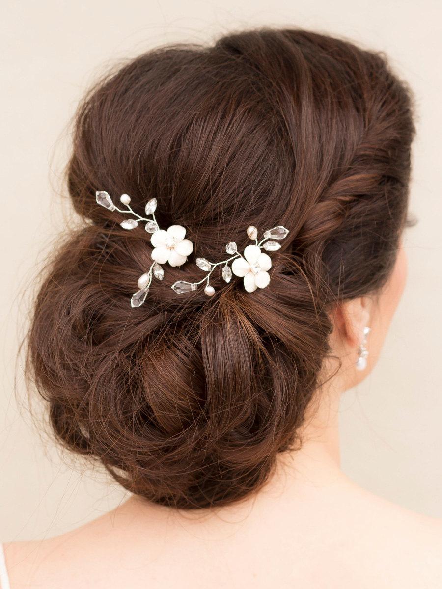 """زفاف - Hand Beaded Flower Hair Pin, Flower Hair Pin, Bridal Hairpins, Wedding Hair Pins, Beaded Hair Pins, Flower Hairpins ~ """"Lana"""" Small"""