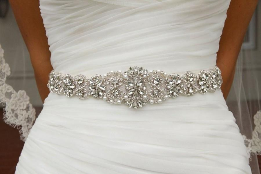 Hochzeit - Wedding Dress Belt sash, Wedding dress Belt, Rhinestone Belt, Crystal Sash, Hand Sewn  001