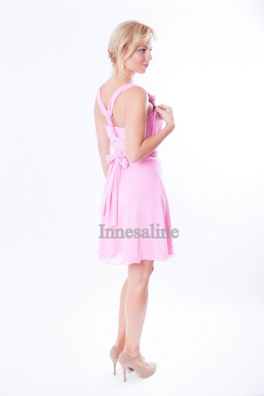 Wedding - Pink pastel  Infinity Dress two layers with chiffon wrap dress Convertible/Infinity Dress
