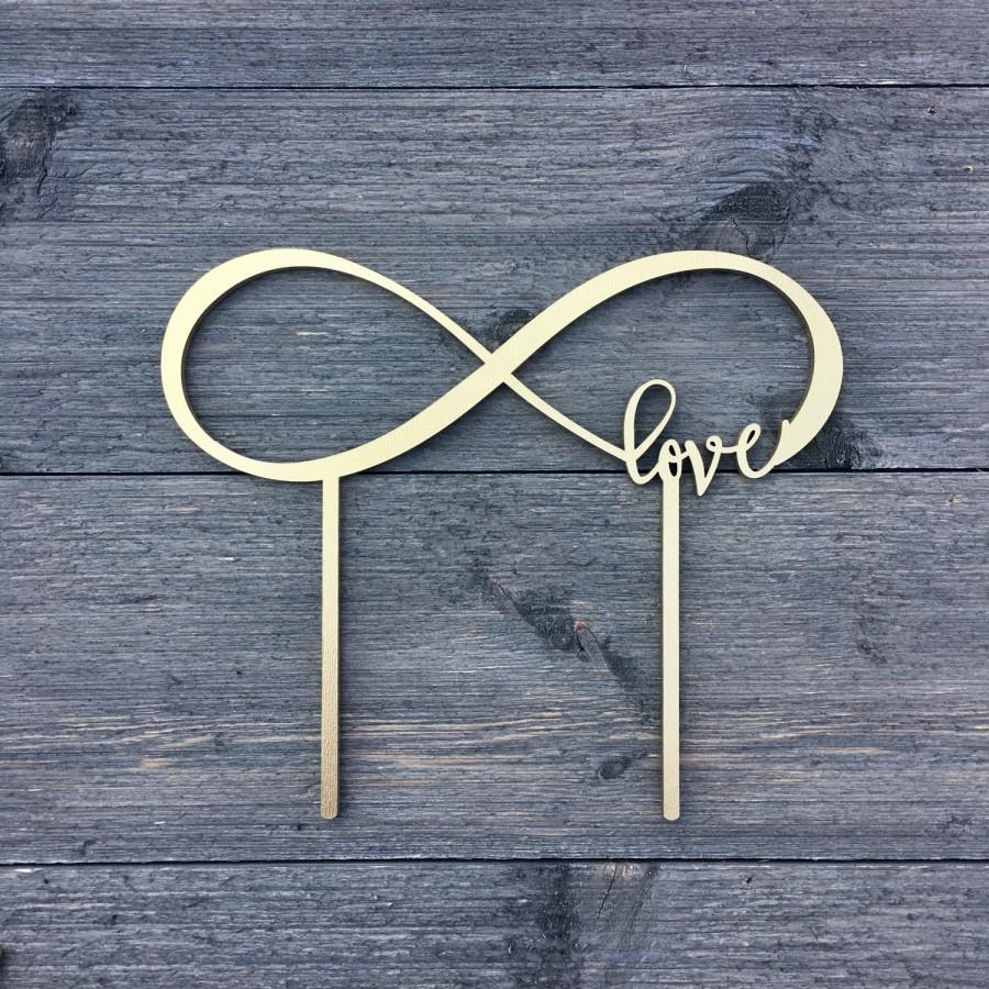 """Mariage - Infinite Love Wedding Cake Topper 8"""" inches, Unique Infinity Laser Cut Cake Topper by Ngo Creations"""