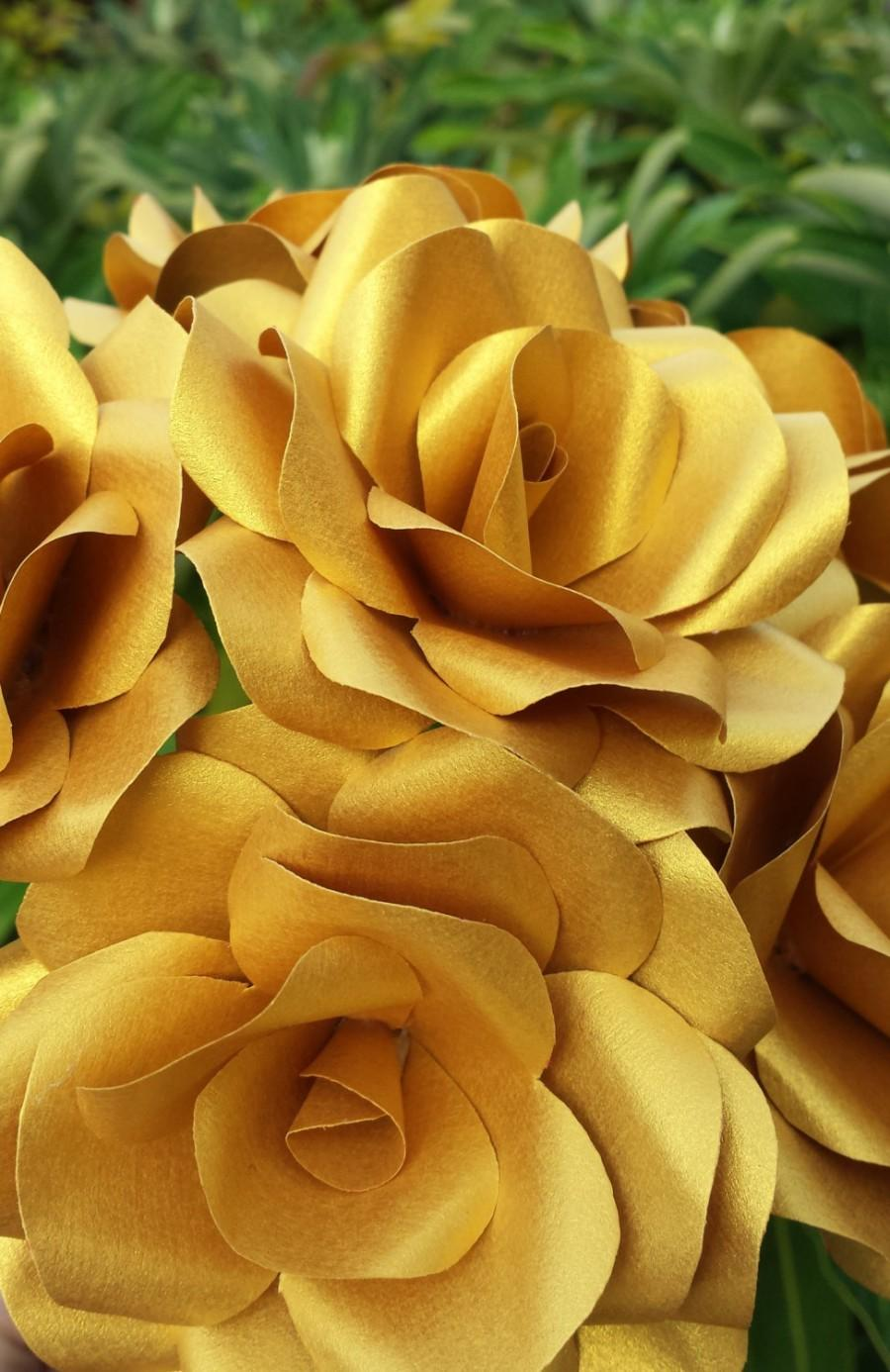6 x gold paper roses handmade paper flowers christmas flowers christmas decorations - Christmas Flower Decorations