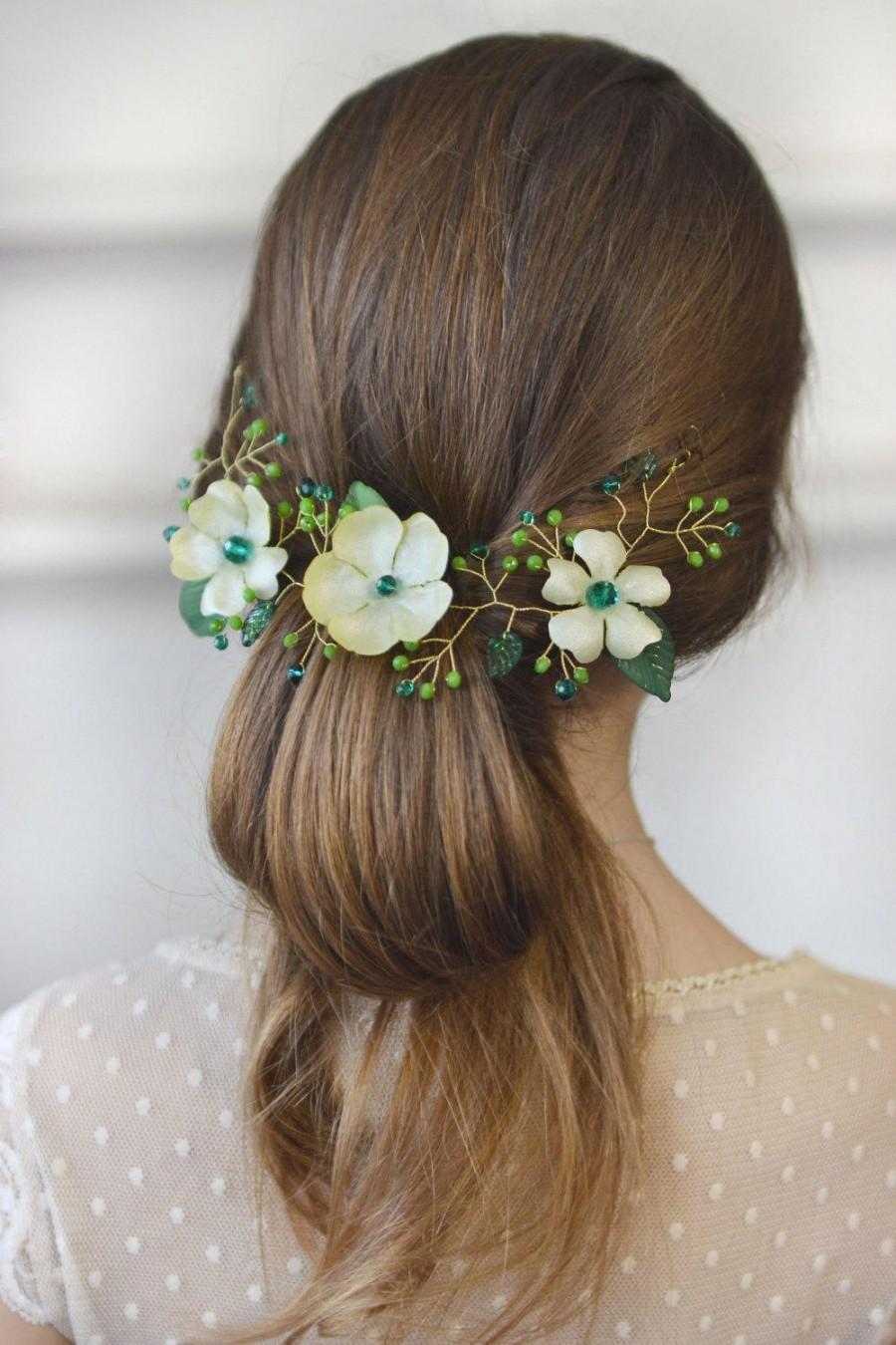 Wedding - Green hair vine Emerald crystal hair back head piece Floral green vine leaves head wreath Emerald wedding piece back crown - $35.00 USD