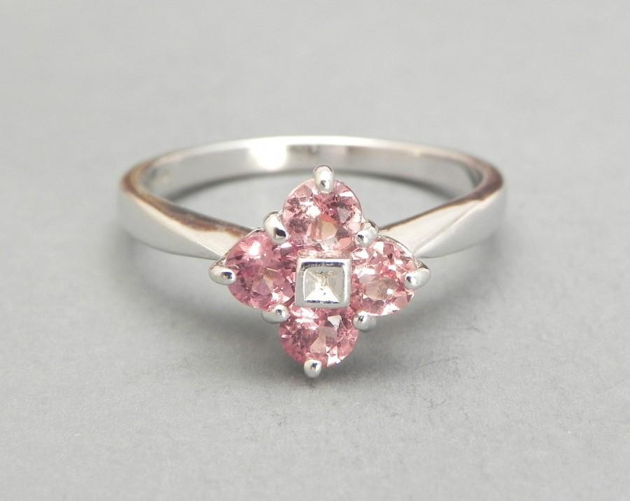 Mariage - Morganite and Diamond Ring, Morganite Engagement Ring, Size 7, White Gold, Pink Peach, Promise Ring, Art Deco Style Ring