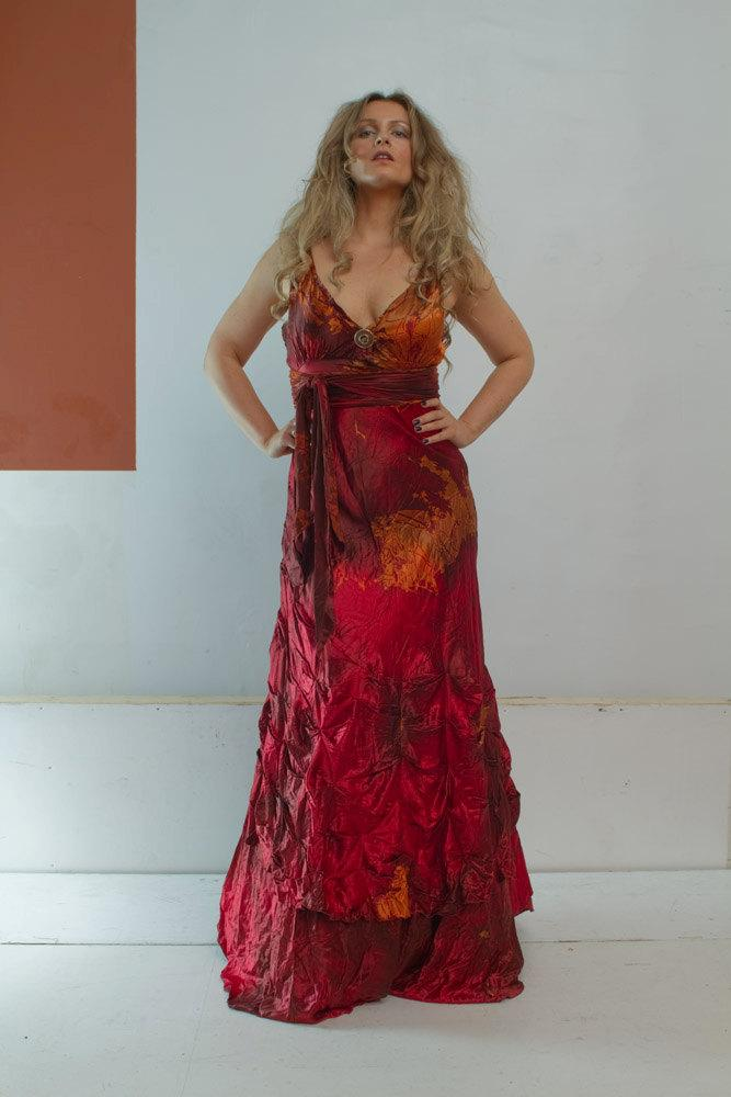 Boda - Red silk plus size wedding gown with pleats boho chic bridal gown mother of the bride dresses tie dye dress red sexy boho chic bridal gowns