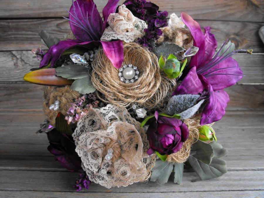 Burlap Wedding Bouquet With Purple Lilly And Peony Flowers Lots Of Rhinestone Pearl Crystal Bling Vine Stem Packages Available