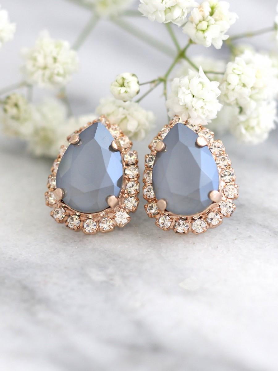 Hochzeit - Gray Earrings, Bridal Gray Earrings, Silver Gray Earrings, Swarovski Gray Earrings, Dove Gray Earrings, Bridesmaids Earrings, Teardrop Studs