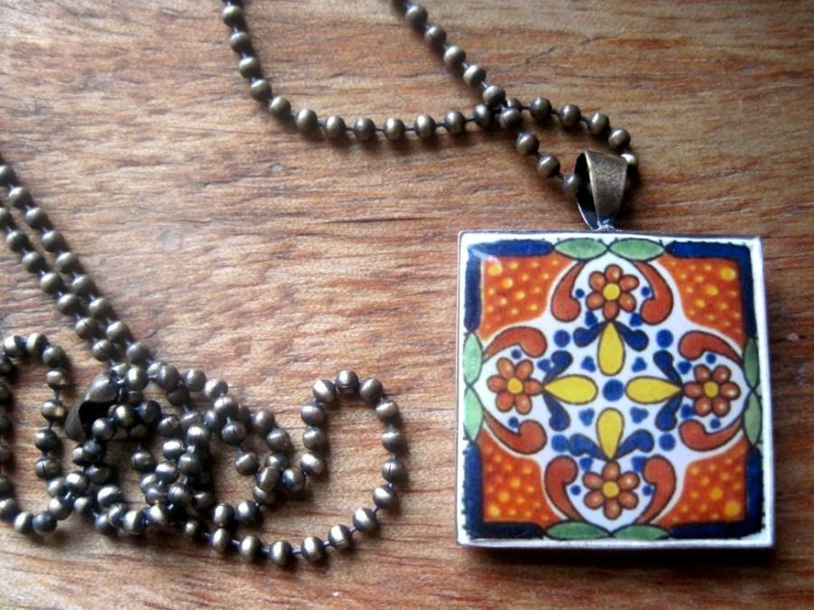 Mariage - Mexican tile design, Talavera design bronze pendant necklace, Mexican jewelry, Native, Southwestern, Country Western bridal jewelry, MTO