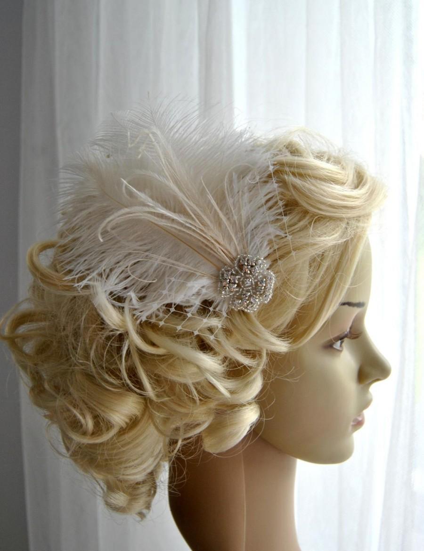 Hochzeit - Ivory Rhinestone head piece fascinator Bridal White hairpiece headbpiece Feather Fascinator 1920s Headpiece ivory wedding fascinator