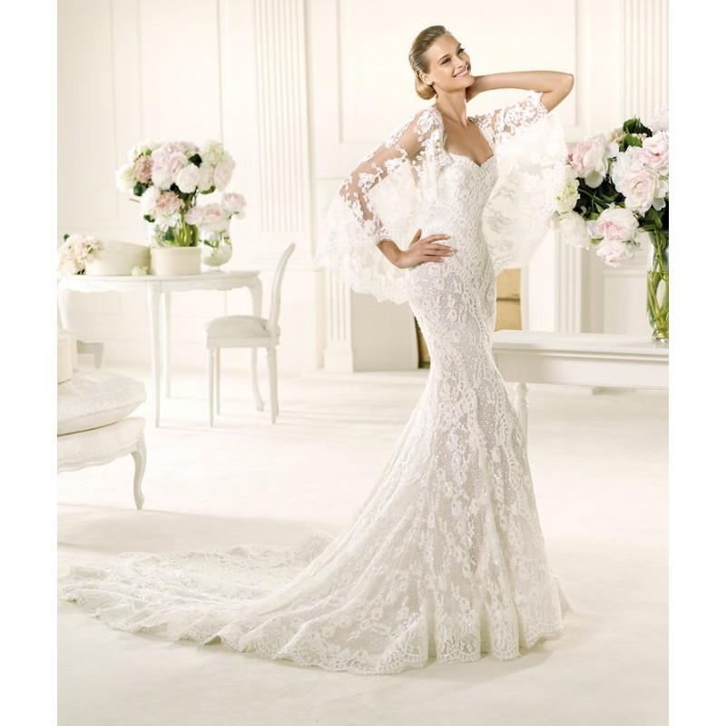 Свадьба - Sexy Trumpet/Mermaid Spaghetti Straps Beading Sweep/Brush Train Lace Wedding Dresses - Dressesular.com