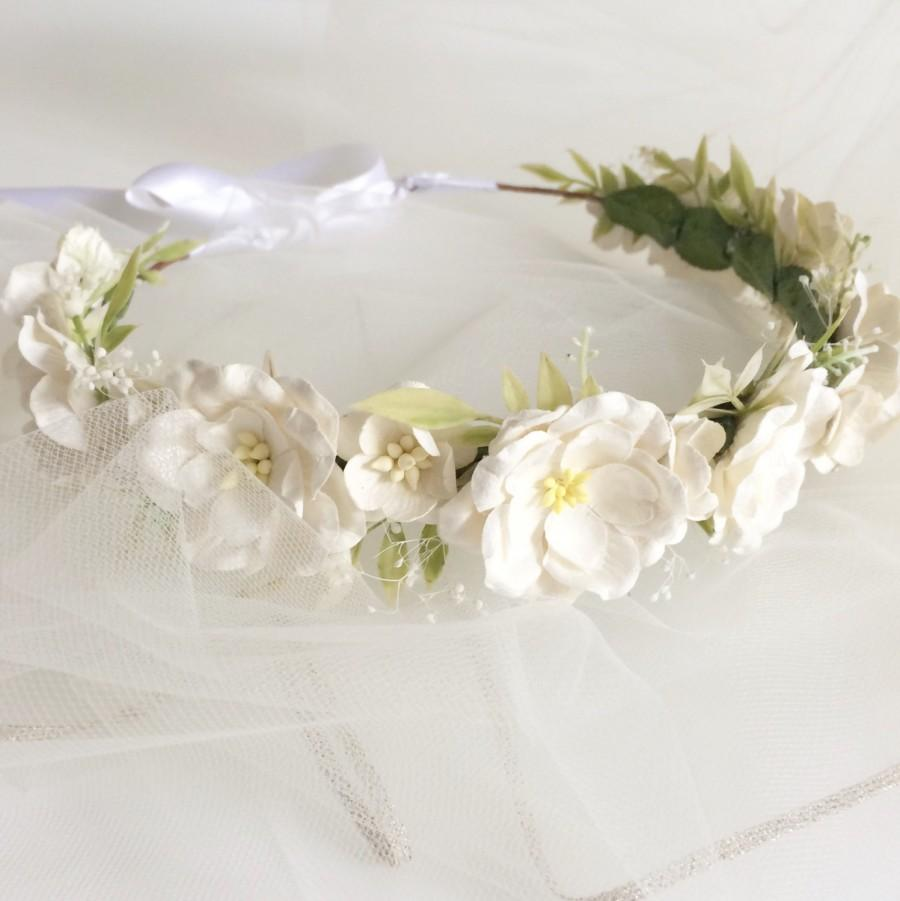 Ivory Flower Crown Wedding Flower Halo White Floral Headpiece