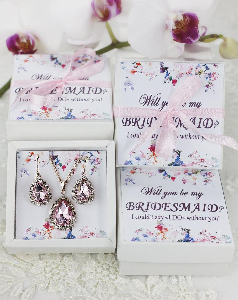 زفاف - Blush earrings Blush Bridesmaid Earrings Bridesmaid gift Blush bridal jewelry set Blush pink earrings Crystal Earrings with Bridesmaid card