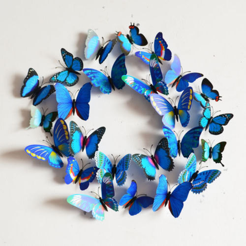 Mariage - 3D Blue Wall Butterflies, Cake Topper,  Magnet 12 PCS of Yellow Orange Boho Chic Wall Art, Wall Murals, Baby Room, Wedding  FREE US Shipping