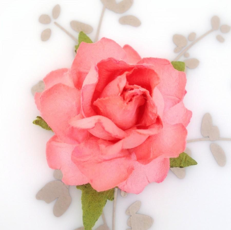 Coral Peach Paper Flowers For DIY Wedding Projects - Place Card ...