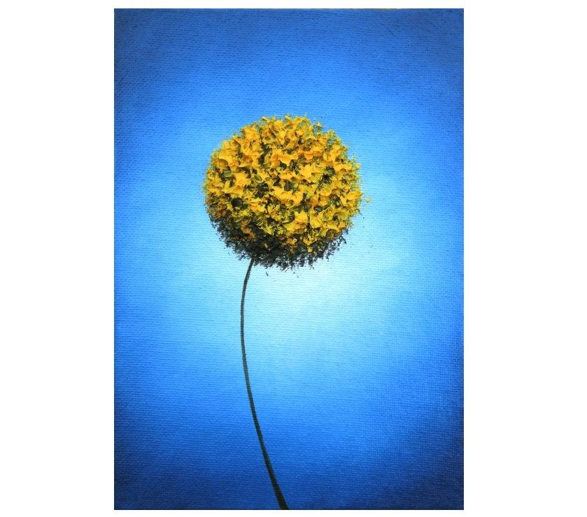 Yellow Flower Art Print Abstract Golden Dandelion Wall Blue And Decor Retro Mid Century Modern 5x7 18x24