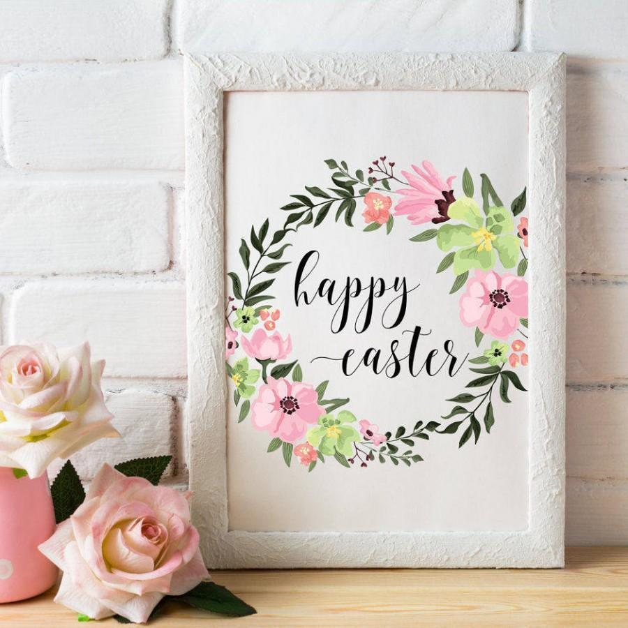 photo regarding Happy Easter Sign Printable identified as Pleased Easter Printable Wall Artwork Easter Signal Easter Electronic