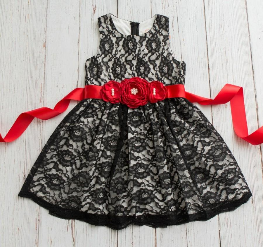 Wedding - Stunning Flower Girl dress black lace, Girls Christmas dress, Black lace dress,Christmas dress, flower girl dresses,rustic flower girl dress