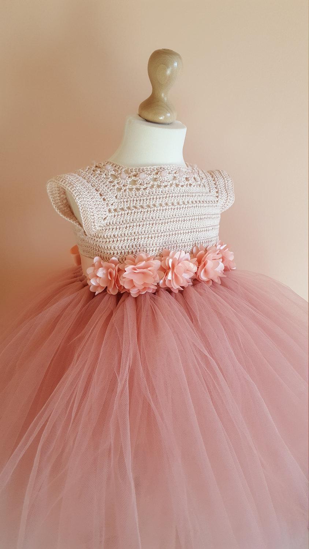 Tutu Dress Crochet Dress Crochet Yoke Princess Dress Bridesmaid
