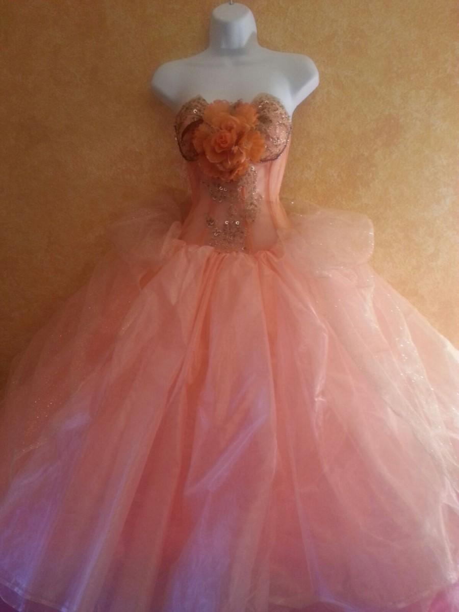 Свадьба - Passion Peach Goddess Tea Length Corset Organza Wedding Bridal Ball Gown Gold Beaded Lace & Crystals Evening Prom Party 50's Bridesmaid