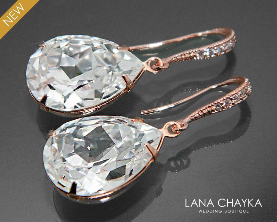 Свадьба - Rose Gold Crystal Bridal Earrings Swarovski Crystal Rhinestone Earrings Wedding Rose Gold Teardrop Earring Bridal Bridesmaid Crystal Jewelry - $29.00 USD