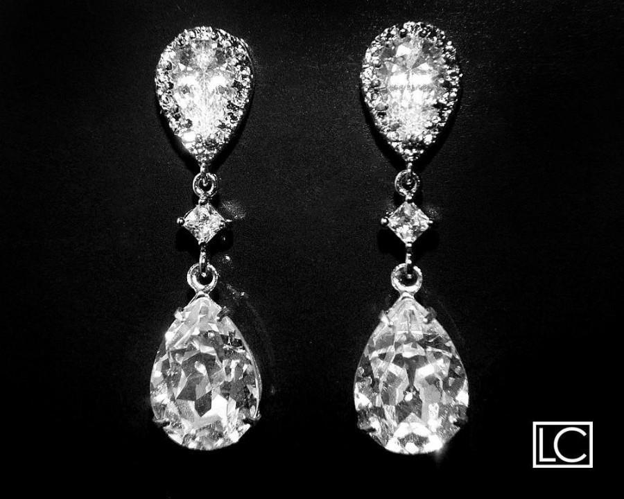 Bridal Crystal CZ Earrings Clear Crystal Teardrop Earrings ...