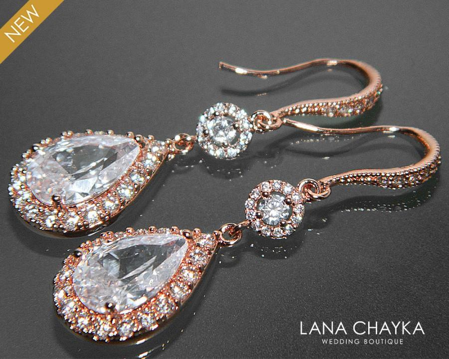 Wedding - Rose Gold Crystal Bridal Earrings Cubic Zirconia Chandelier Wedding Earrings Rose Gold Dangle CZ Earrings Sparkly Bridal Crystal Jewelry - $39.90 USD