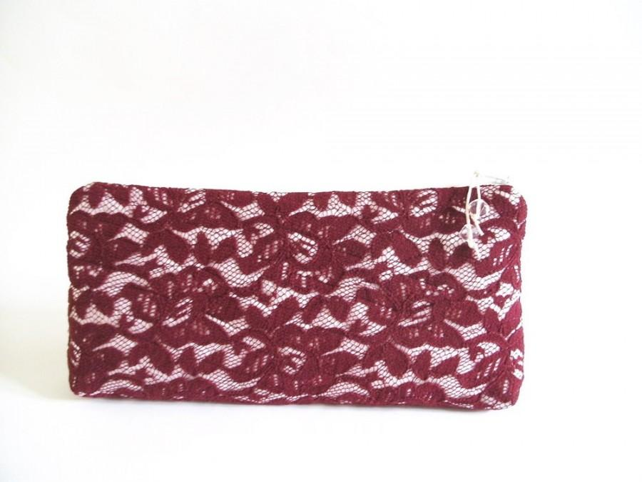 Свадьба - Antique Ruby Wedding Clutch, Ruby Lace Clutch for Bride and Bridesmaid, Ruby Evening Handbag for Cosmetics