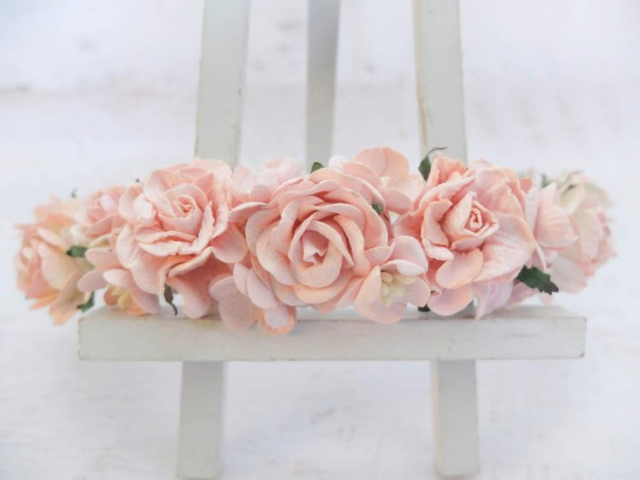 Свадьба - Blush pink flower crown - wedding floral hair wreath - flower headpiece - flower hair accessories for girls