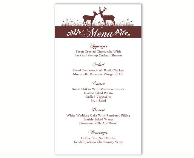 Wedding Menu Template DIY Menu Card Template Editable Text Word – Menu Printable Template