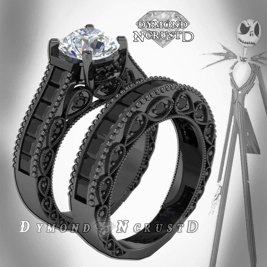 Свадьба - Jack Skellington Inspired White  & Black Swarovski Accents on Black Rhodium or Black Gold Bridal Engagement Ring Set