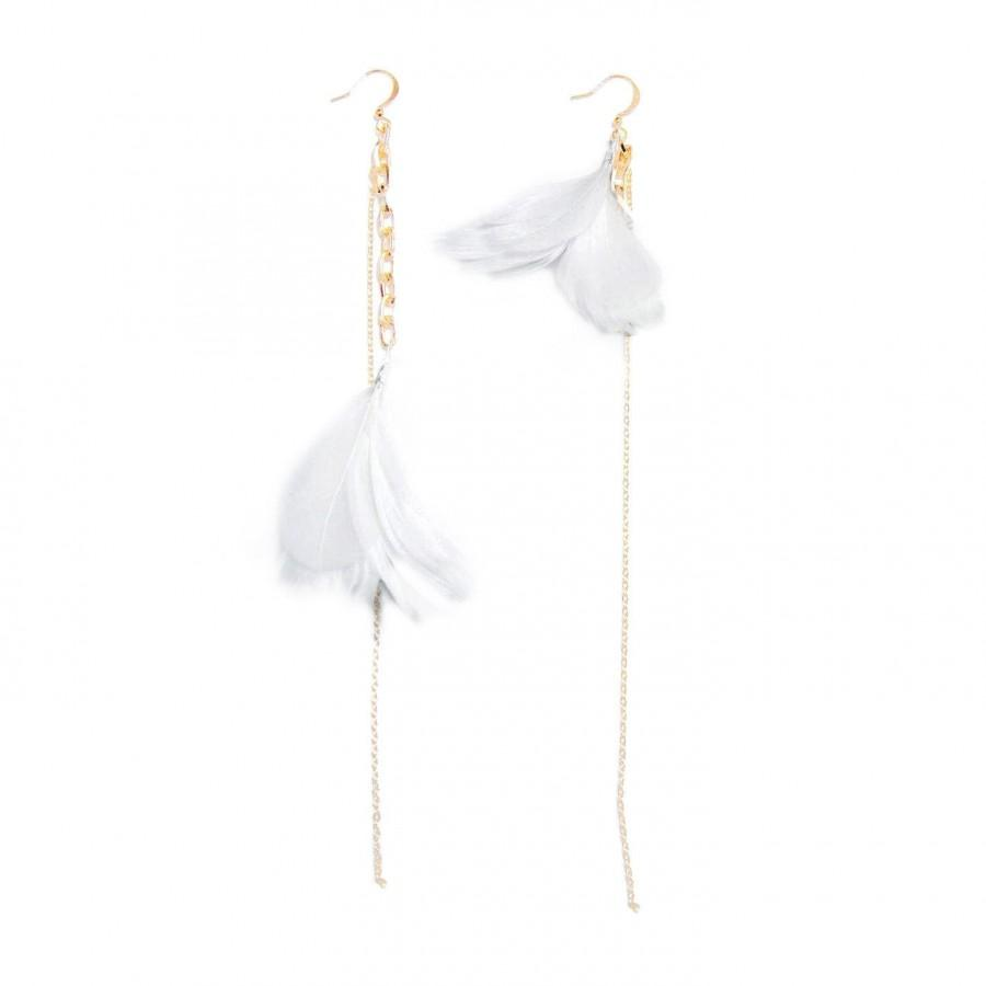 Свадьба - Feather Earrings. White Feather Earrings. Gold Dangle Earrings. Bridesmaid Gift For Her. Wedding Jewelry