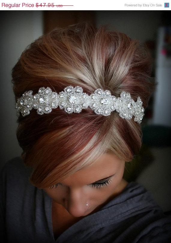 Mariage - Bridal Headband, Wedding Headpiece, Rhinestone Headband, LILLY, Flower Girl, Bridesmaid, Wedding, Hair Accessory, Bridesmaid