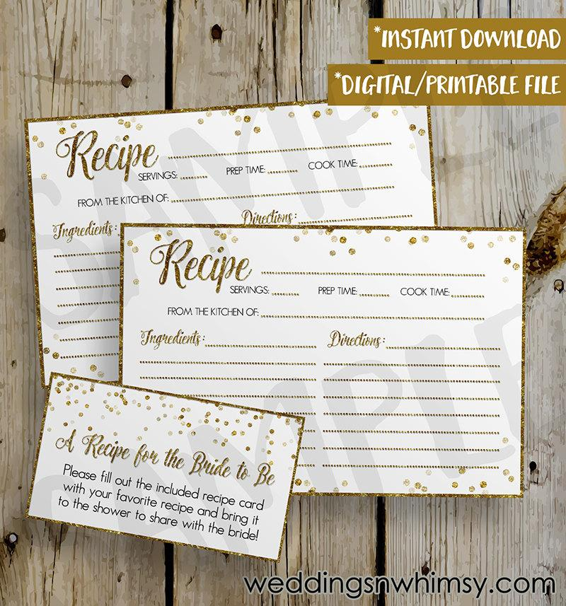 Wedding - PRINTABLE Gold Glitter Confetti Bridal Shower Recipe Card -  DIY Instant Download Recipe Card Digital File - Shower Invitation Enclosure