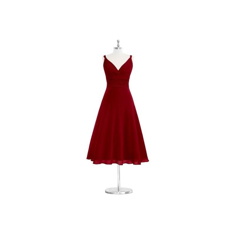Wedding - Burgundy Azazie Jayla - V Back Tea Length Chiffon V Neck Dress - The Various Bridesmaids Store