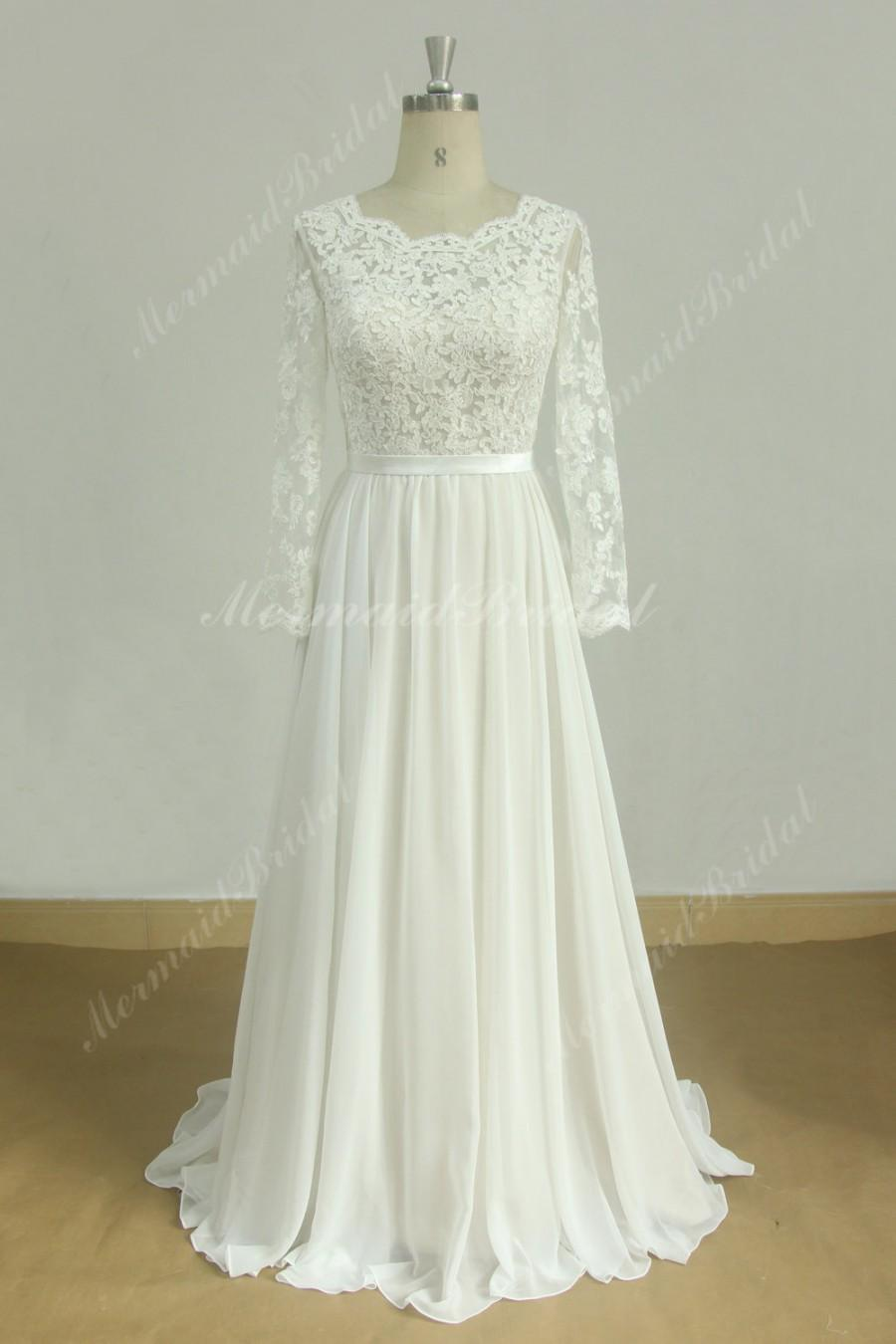 Свадьба - Romantic A line vintage chiffon lace wedding dress with nude lining and long sleeves
