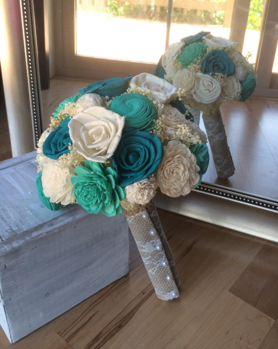 Свадьба - Rustic wedding bouquet, Turquoise and teal bouquet, Sola wood bouquet, Alternative bouquet, Bridal bouquet, Bridesmaid bouquet, Sola Wedding