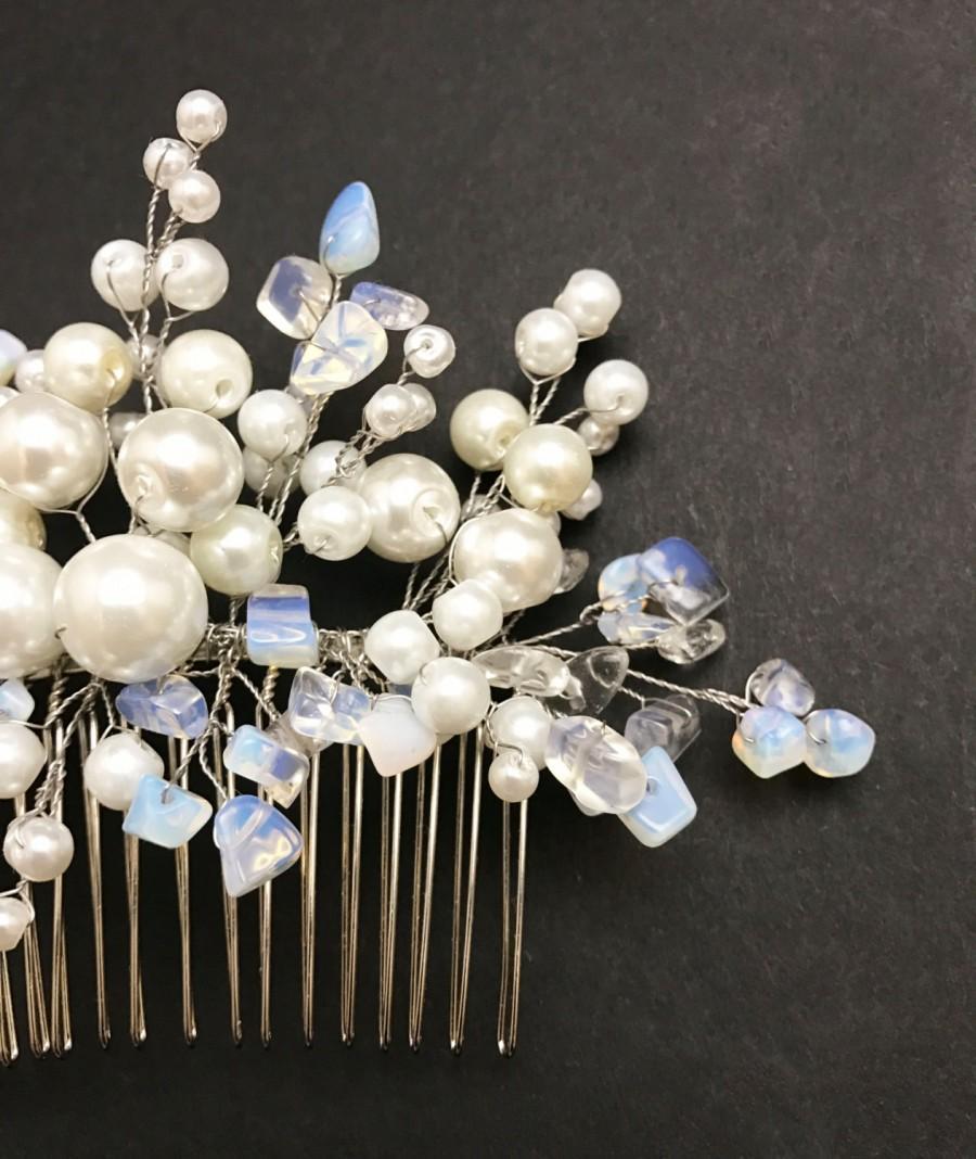 Свадьба - Something blue,Bridal Hair Comb,Wedding Hair Accessories,Pearl Hair Comb,Wedding Hair Pin,Bridal Headpiece,Bridal Hair Piece,Moonstone