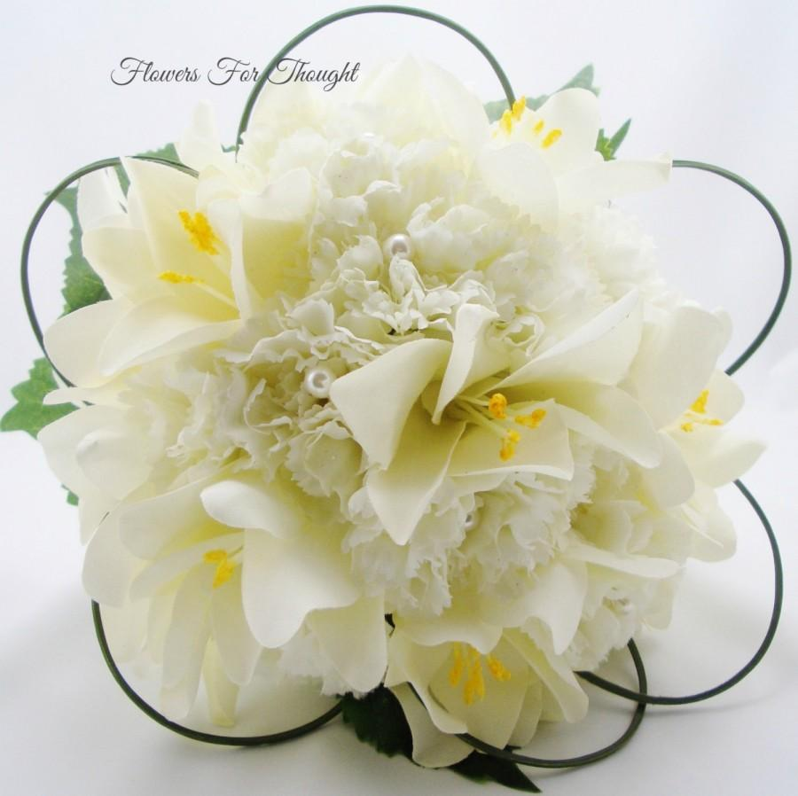 Свадьба - Creamy White Lilies and Carnation Wedding Bouquet, Silk Bridal Flowers with Pearls, FFT original design, Made to Order