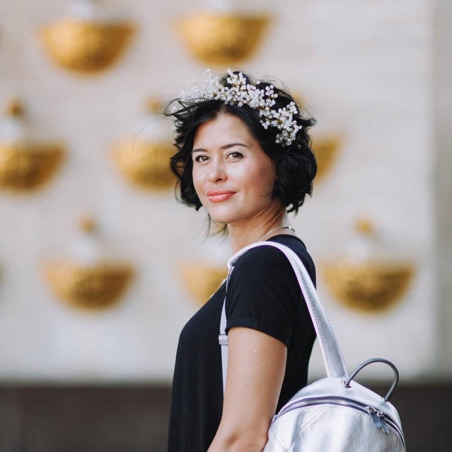 Свадьба - Crystal Headband for Bride, Winter Wedding Headpiece, Bridal Hair Piece, Wedding Headband, Bridal Head Wreath, Rhinestone Tiara