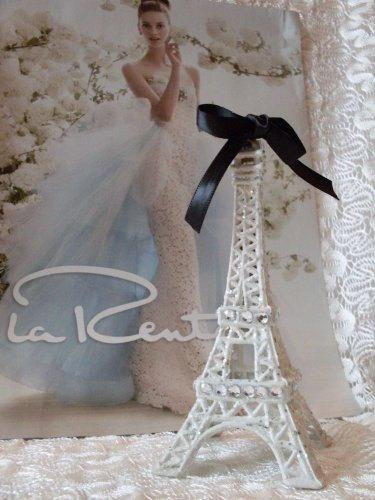 Mariage - White Paris Eiffel Tower Cake Topper MEASURES 5 & 1/2 INCHES TALL We Ship Internationally