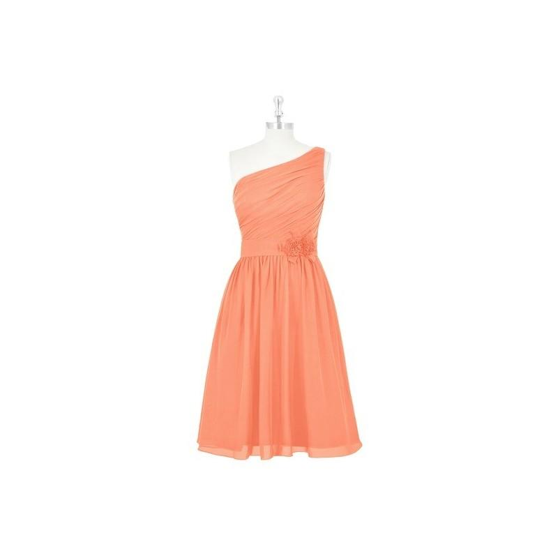 زفاف - Papaya Azazie Christina - One Shoulder Side Zip Chiffon Knee Length Dress - The Various Bridesmaids Store